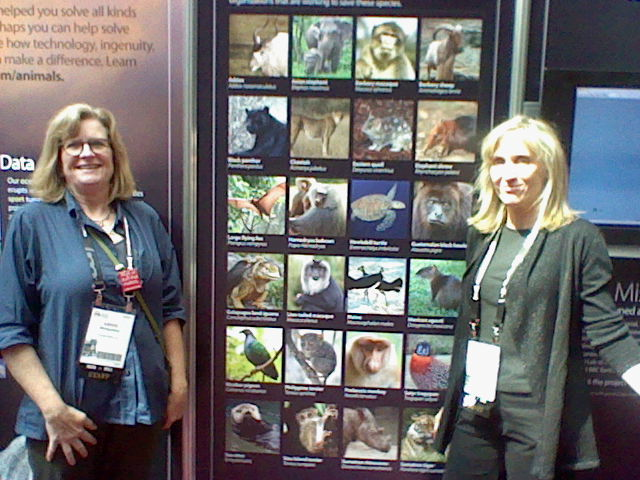 Two women from O'Reilly, one of them Edie Freedman, Director of Brand Management, pose in front of a wall of endangered animals.