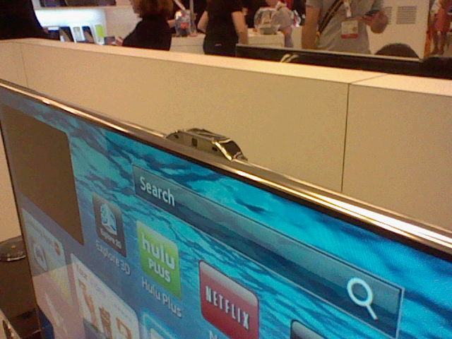 Samsung TV with motion capture apparatus mounted on top