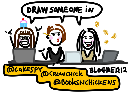 A cartoon of all three panelists